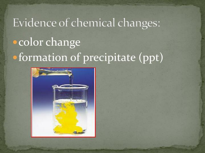 Evidence of chemical changes:
