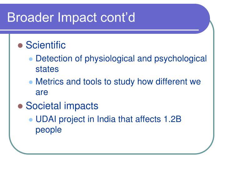 Broader Impact cont'd