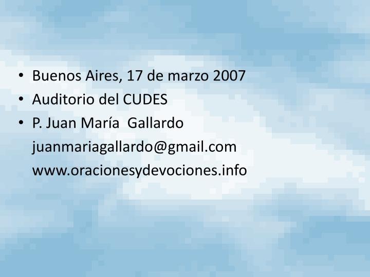 Buenos Aires, 17 de marzo 2007