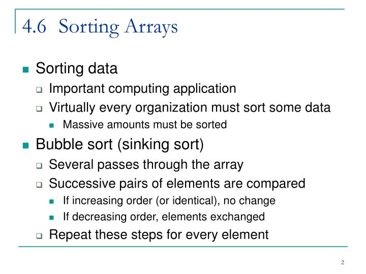 4 6 sorting arrays
