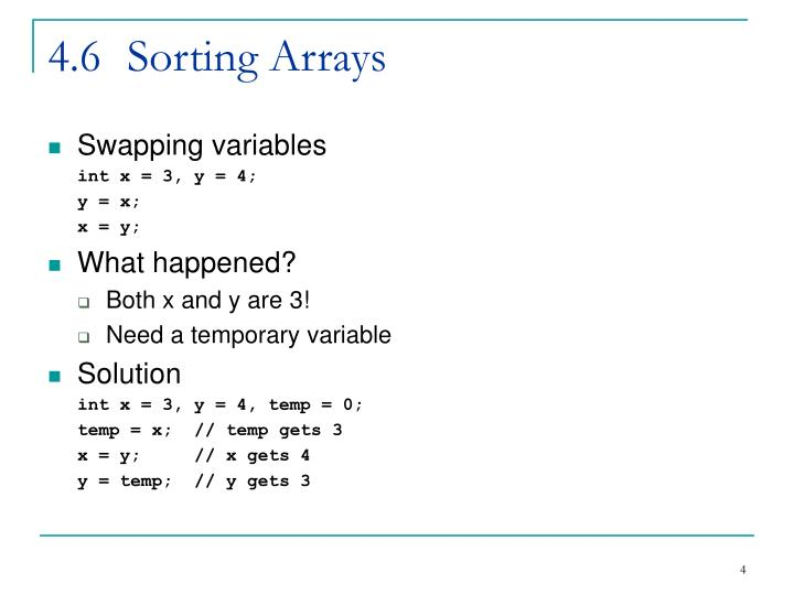 4.6	Sorting Arrays