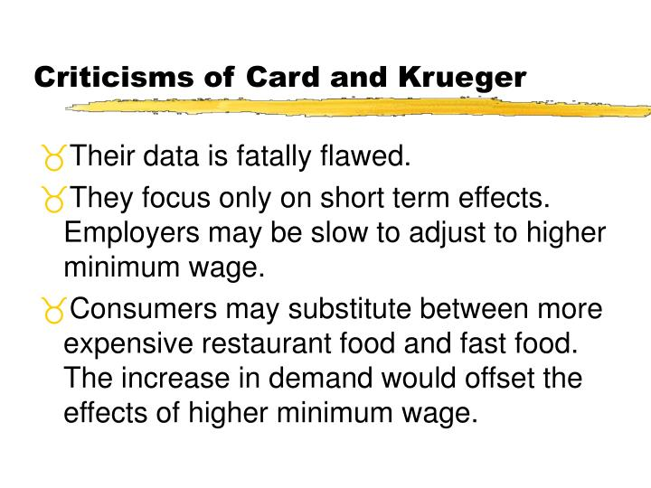 Criticisms of Card and Krueger
