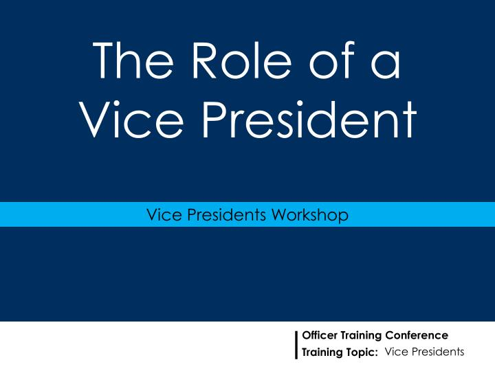 The role of a vice president