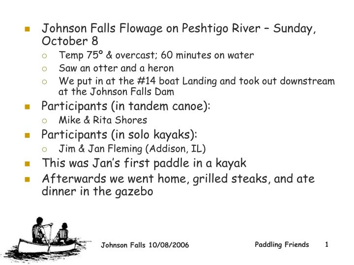 Johnson Falls Flowage on Peshtigo River – Sunday, October 8