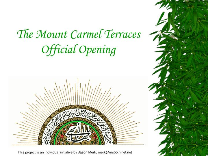 the mount carmel terraces official opening n.
