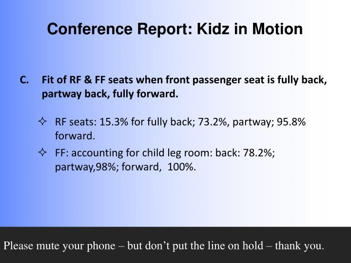 Fit of RF & FF seats when