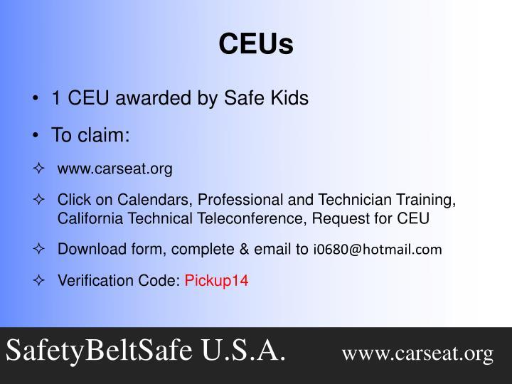 1 CEU awarded by Safe Kids