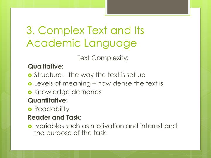 3. Complex Text and Its Academic Language