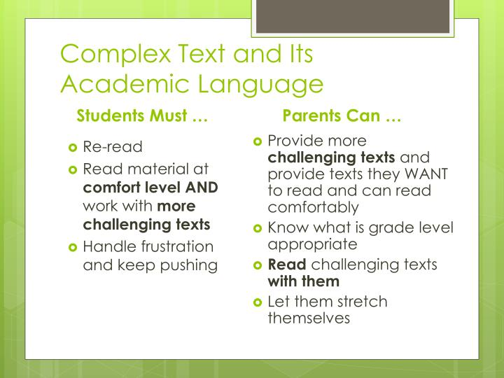 Complex Text and Its Academic Language
