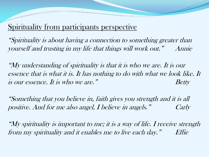 Spirituality from participants perspective