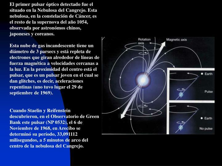 El primer pulsar óptico detectado fue el situado en la Nebulosa del Cangrejo. Esta nebulosa, en la constelación de Cáncer, es el resto de la supernova del a