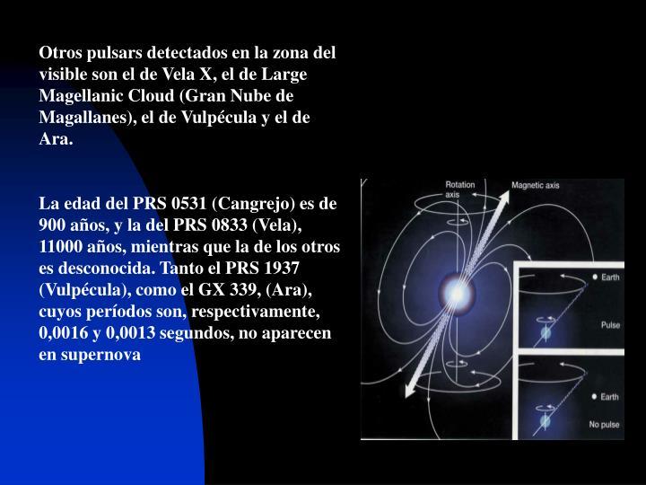 Otros pulsars detectados en la zona del visible son el de Vela X, el de Large Magellanic Cloud (Gran Nube de Magallanes), el de Vulpécula y el de Ara.