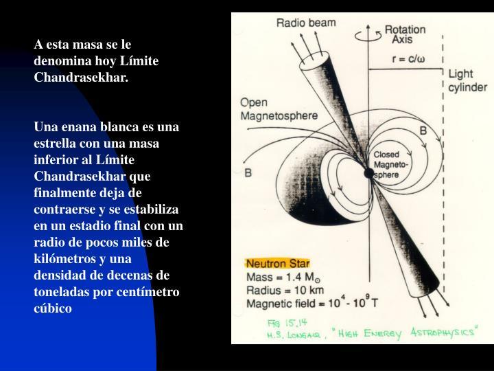 A esta masa se le denomina hoy Límite Chandrasekhar.