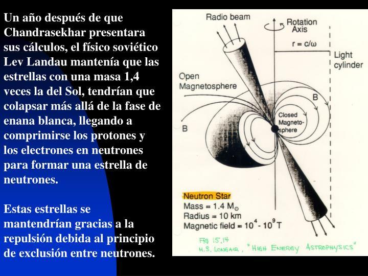 Un año después de que Chandrasekhar presentara sus cálculos, el físico soviético Lev Landau mantenía que las estrellas con una masa 1,4 veces la del Sol, tendrían que colapsar más alláde la fase de enana blanca, llegando a comprimirse los protones y los electrones en neutrones para formar una estrella de neutrones.