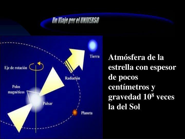 Atmósfera de la estrella con espesor de pocos centímetros y gravedad 10