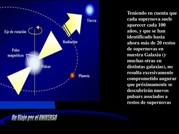 Teniendo en cuenta que cada supernova suele aparecer cada 100 años, y que se han identificado hasta ahora m