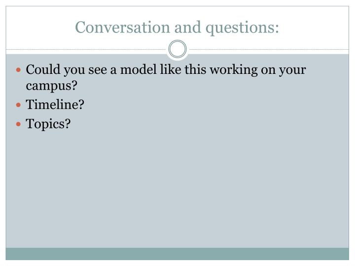 Conversation and questions: