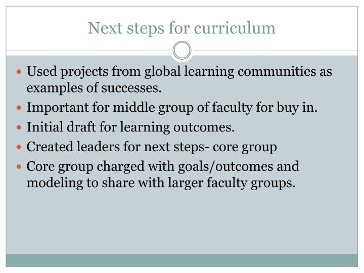 Next steps for curriculum