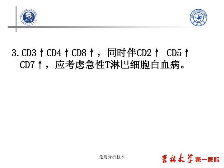 3.CD3↑CD4↑CD8↑