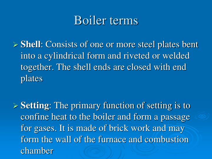 Boiler terms