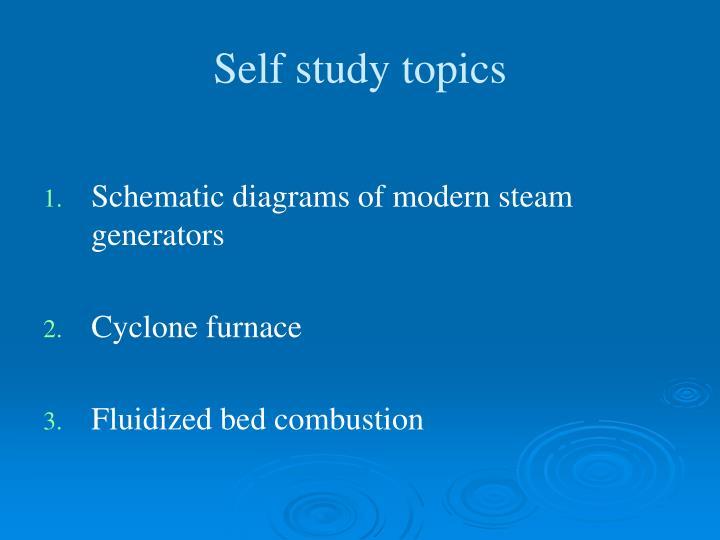 Self study topics