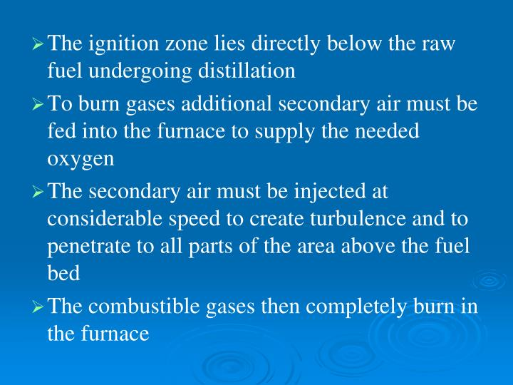 The ignition zone lies directly below the raw fuel undergoing distillation