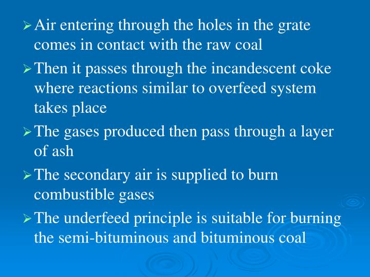 Air entering through the holes in the grate comes in contact with the raw coal