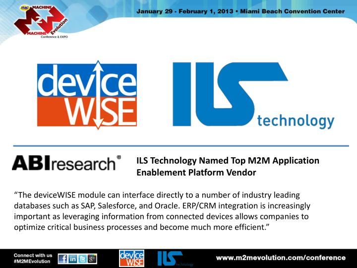 ILS Technology Named Top M2M Application Enablement Platform Vendor