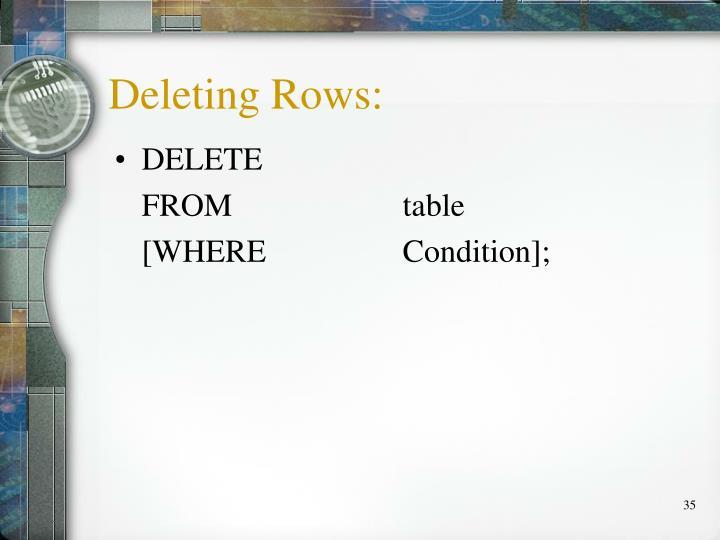 Deleting Rows: