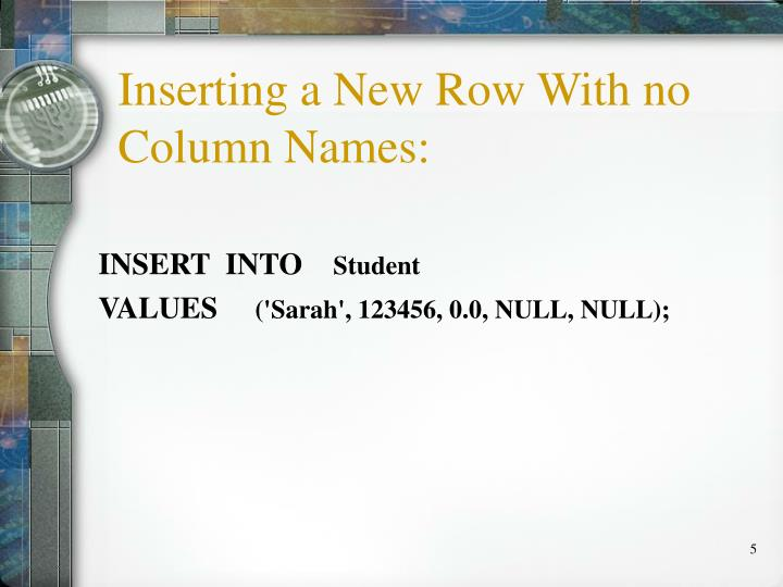 Inserting a New Row With no Column Names: