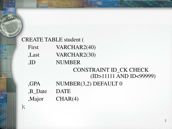 CREATE TABLE student (
