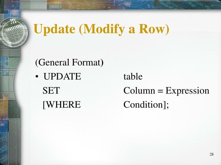 Update (Modify a Row)