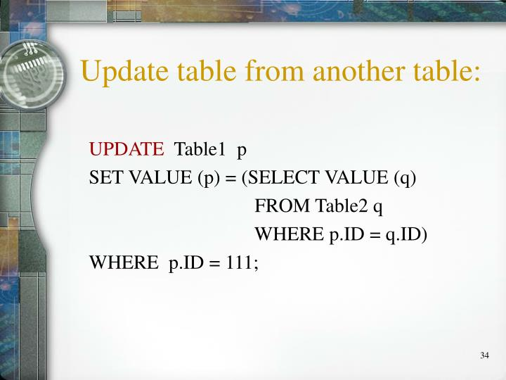 Update table from another table: