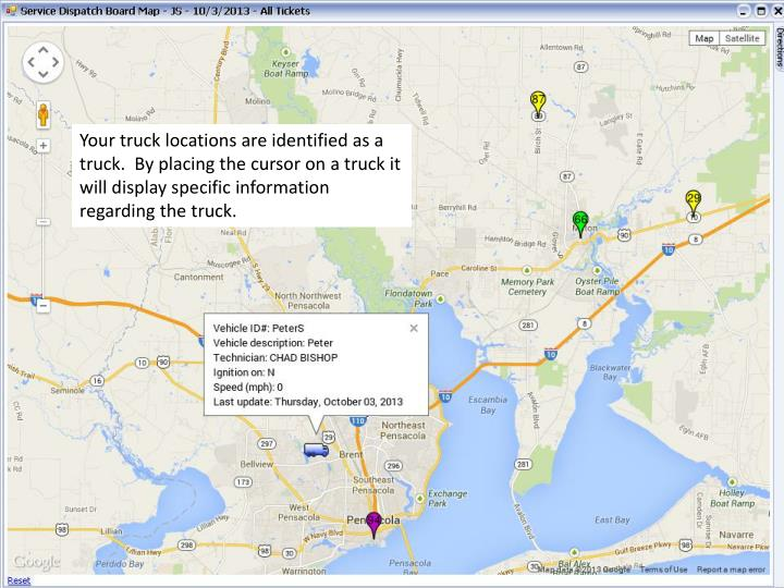 Your truck locations are identified as a truck.  By placing the cursor on a truck it will display specific information regarding the truck.