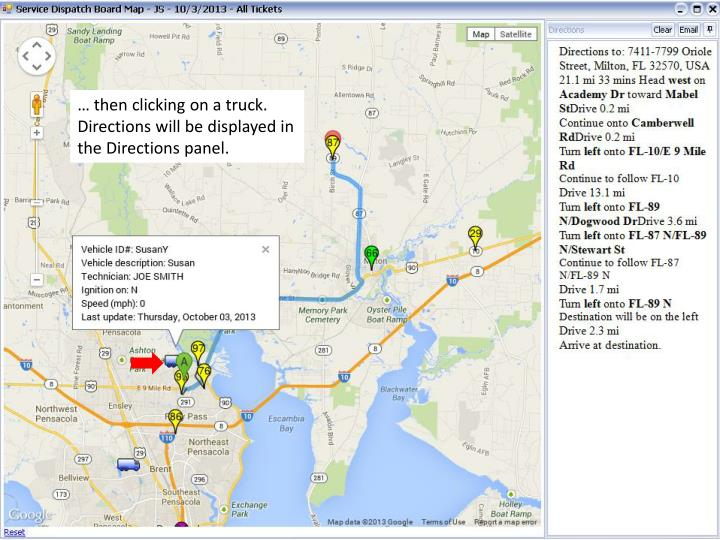 … then clicking on a truck.  Directions will be displayed in the Directions panel.