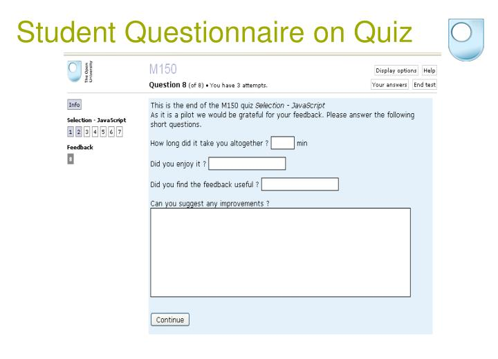 Student Questionnaire on Quiz