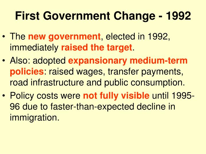 First Government Change - 1992