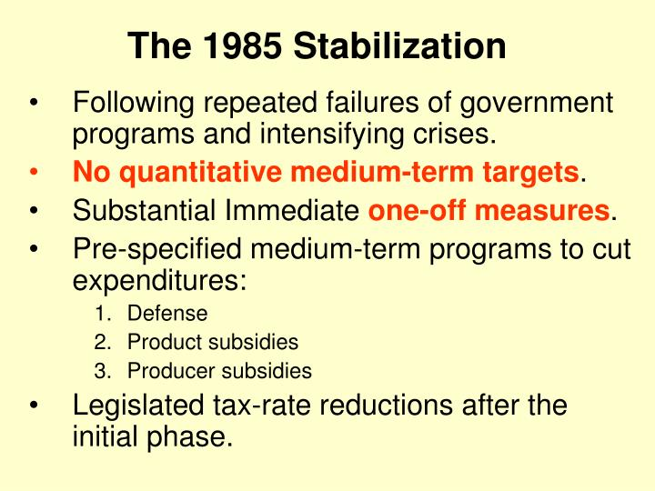The 1985 Stabilization