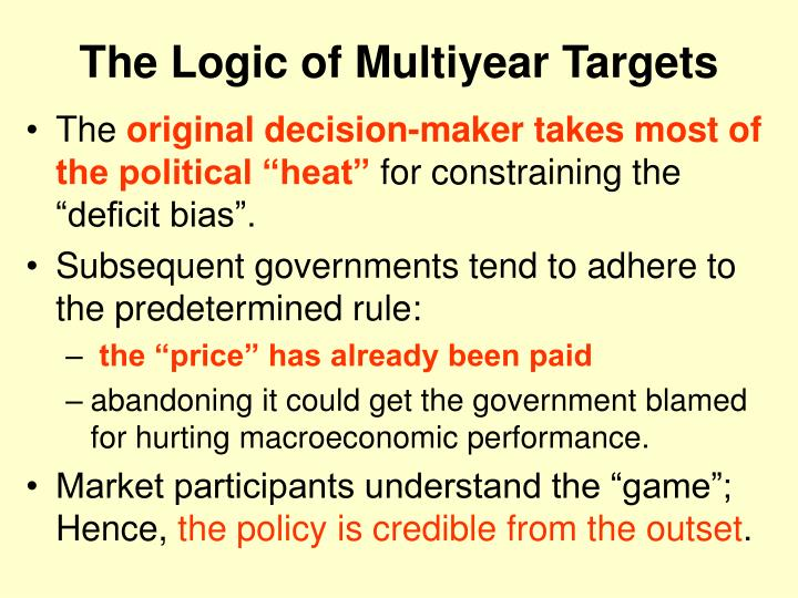 The logic of multiyear targets