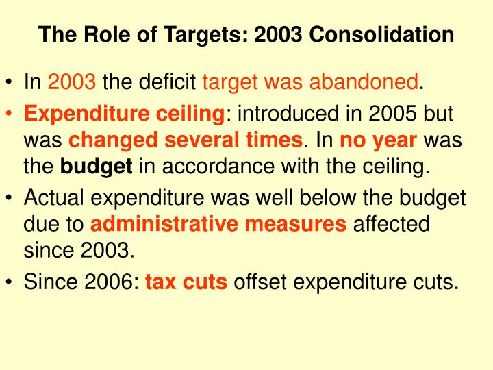 The Role of Targets: 2003 Consolidation
