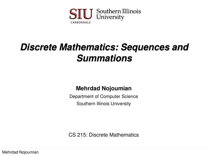 Discrete mathematics sequences and summations
