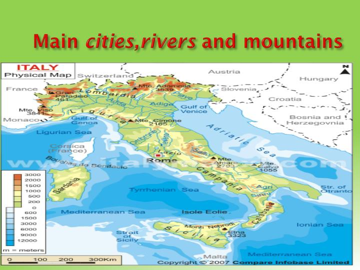 Main cities rivers and mountains