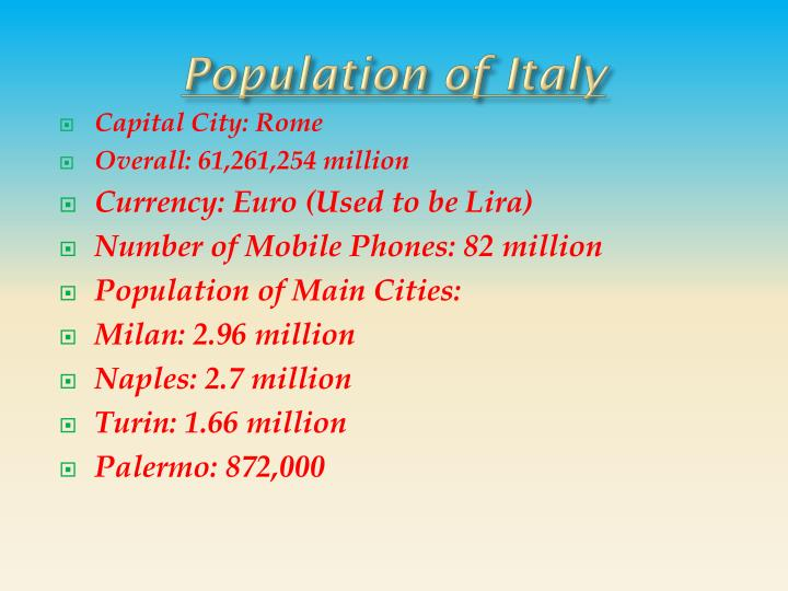 Population of Italy