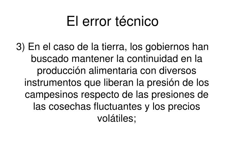 El error técnico