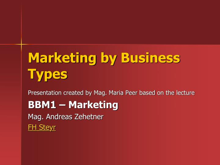 marketing by business types n.