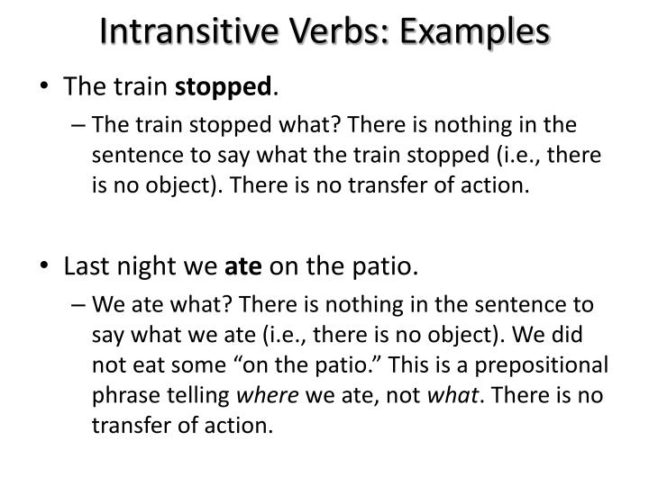 Intransitive Verbs: Examples