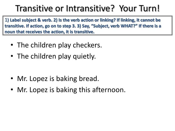 Transitive or Intransitive?  Your Turn!