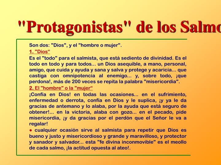 """""""Protagonistas"""" de los Salmos"""