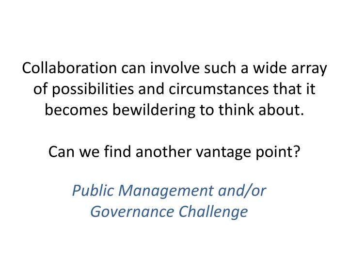 Collaboration can involve such a wide array of possibilities and circumstances that it becomes bewildering to think about.