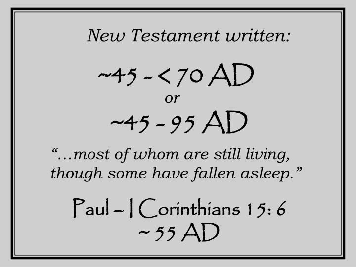 New Testament written: